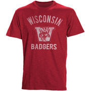 Men's '47 Brand Red Wisconsin Badgers Vintage Bucky W Scrum T-Shirt