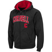 Men's Stadium Athletic Black Cornell Big Red Arch & Logo Full Zip Hoodie