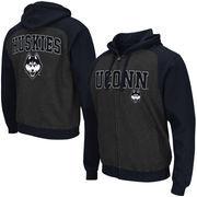 Men's Colosseum Black UConn Huskies Crest Full Zip Hoodie