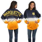 Women's Navy Marquette Golden Eagles Ombre Long Sleeve Dip-Dyed Spirit Jersey