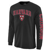 Men's Fanatics Branded Black Harvard Crimson Distressed Arch Over Logo Long Sleeve Hit T-Shirt