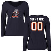 Women's Navy UTEP Miners Personalized Football Slim Fit Long Sleeve T-Shirt