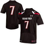 Mens Texas Tech Red Raiders No.7 Under Armour Black Replica Football Jersey