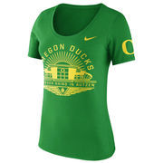 Women's Nike Green Oregon Ducks Enzyme Washed Campus Element Scoop T-Shirt