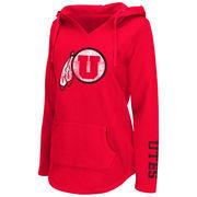 Women's Colosseum Red Utah Utes Walkover V-Neck Hoodie