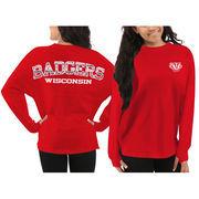 Women's Wisconsin Badgers Red Aztec Sweeper Long Sleeve Oversized Top