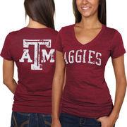 Texas A&M Aggies Women's Slab Serif Tri-Blend V-Neck T-Shirt - Maroon