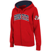 Women's Stadium Athletic Red Fresno State Bulldogs Arched Name Full-Zip Hoodie