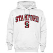 Mens White Stanford Cardinal Arch Over Logo Hoodie