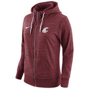 Women's Nike Crimson Washington State Cougars Tailgate Gym Vintage Full-Zip Hoodie