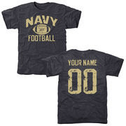 Men's Navy Navy Midshipmen Personalized Distressed Football Tri-Blend T-Shirt