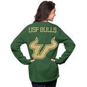 Women's Green South Florida Bulls The Big Shirt Oversized Long Sleeve T-Shirt