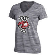 Women's Under Armour Gray Wisconsin Badgers Space Tech V-Neck Performance T-Shirt