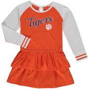 Girls Toddler Orange Clemson Tigers Kacey Long Sleeve Raglan Ruffle Dress