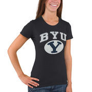 Women's New Agenda Heathered Navy BYU Cougars Big Arch & Logo Ring Spun T-Shirt