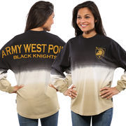 Women's Black Army Black Knights Ombre Long Sleeve Dip-Dyed Spirit Jersey