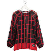 Women's Red Georgia Bulldogs Sheer Plaid Long Sleeve Tunic