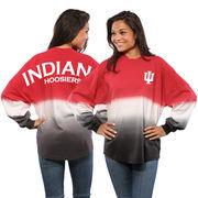 Women's Crimson Indiana Hoosiers Ombre Long Sleeve Dip-Dyed Spirit Jersey