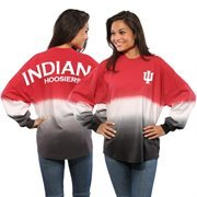 Women's Crimson Indiana Hoosiers Ombre Long Sleeve Dip-Dyed Spirit Jersey