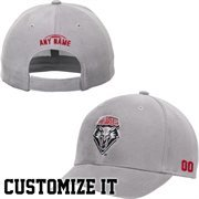 New Mexico Lobos Elementary Personalized Football Name & Number Adjustable Hat  - Gray