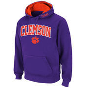 Men's Stadium Athletic Purple Clemson Tigers Arch & Logo Pullover Hoodie