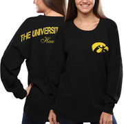 Women's Iowa Hawkeyes Black Pom Pom Jersey Oversized Long Sleeve T-Shirt