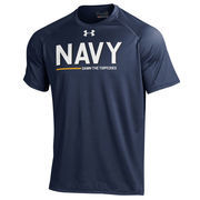 Men's Under Armour Navy Navy Midshipmen Army vs. Navy Two-Sided Fleet Tech Performance T-Shirt