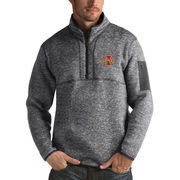 Men's Antigua Heathered Charcoal Iowa State Cyclones Fortune 1/2-Zip Pullover Sweater