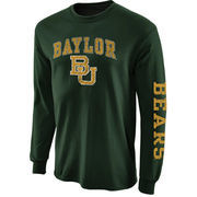 Mens Baylor Bears Forest Green Arch & Logo Long Sleeve T-Shirt