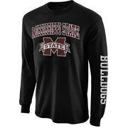 Mens Mississippi State Bulldogs Black Big Arch N' Logo Love Sleeve T-Shirt