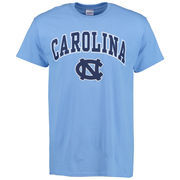 Men's New Agenda Carolina Blue North Carolina Tar Heels Mid Size Arch Over Logo T-Shirt