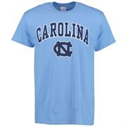 Men's New Agenda Carolina Blue North Carolina Tar Heels Mid Size Arch Over Logo T-Shirt