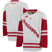 Men's Under Armour White Wisconsin Badgers Replica Hockey Jersey