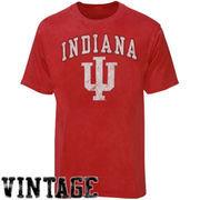 Indiana Hoosiers Big Arch N' Logo Ring Spun T-Shirt - Heathered Red