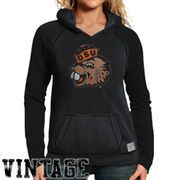 Original Retro Brand Oregon State Beavers Women's Two-Toned V-Neck Hooded Sweatshirt - Black