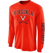 Mens Virginia Cavaliers Orange Arch & Logo Long Sleeve T-Shirt