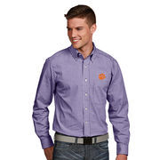 Men's Antigua Purple Clemson Tigers Associate Woven Long Sleeve Button-Down Shirt