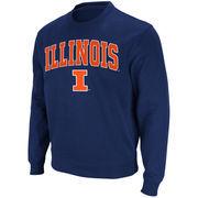 Men's Stadium Athletic Navy Illinois Fighting Illini Arch & Logo Crew Pullover Sweatshirt