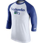 Men's Nike White Seattle Seahawks Historic Tri-Blend Three-Quarter Sleeve Raglan T-Shirt