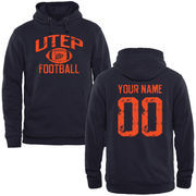 Men's Navy UTEP Miners Personalized Distressed Football Pullover Hoodie