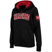 Women's Stadium Athletic Black Harvard Crimson Arched Name Full-Zip Hoodie