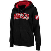 Women's Stadium Athletic Black Harvard Crimson Arched Name Full-Zip Hoodie