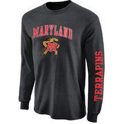 Mens Maryland Terrapins Charcoal Arch & Logo Long Sleeve T-Shirt