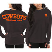 Women's Oklahoma State Cowboys Black Sweeper Long Sleeve Oversized Top