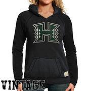 Original Retro Brand Hawaii Warriors Women's Two-Toned V-Neck Hooded Sweatshirt - Black