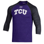 Men's Under Armour Purple TCU Horned Frogs Baseball Tri-Blend Three-Quarter Sleeve Performance T-Shirt