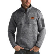 Men's Antigua Heathered Charcoal Oklahoma State Cowboys Fortune 1/2-Zip Pullover Sweater