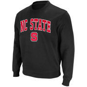 Men's Stadium Athletic Black NC State Wolfpack Arch & Logo Crew Pullover Sweatshirt
