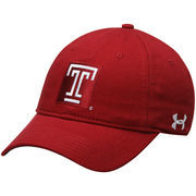 Men's Under Armour Crimson Temple Owls Sideline Garment Washed Twill Performance Adjustable Hat