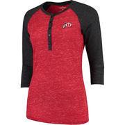 Women's Colosseum Red Utah Utes Split 3/4-Sleeve Raglan Henley T-Shirt